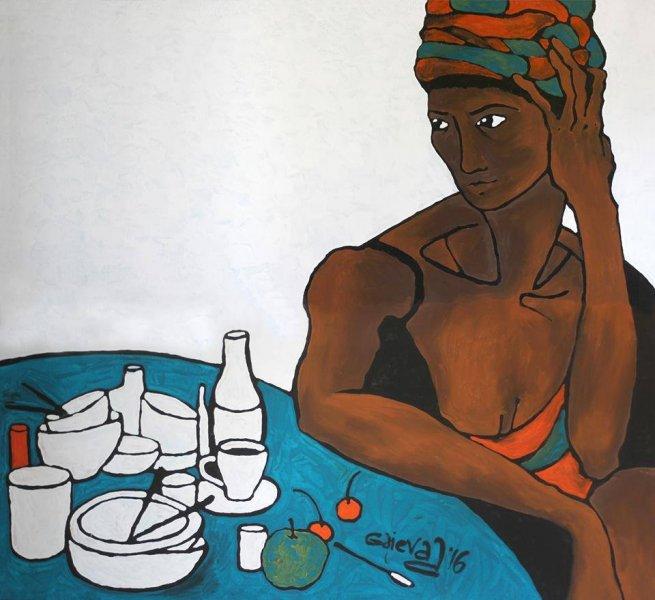 Автор Аліна Гаєва, цикл «Рабство», «Нерівність», акрил, пінополістирол, 110х120см, 2016р