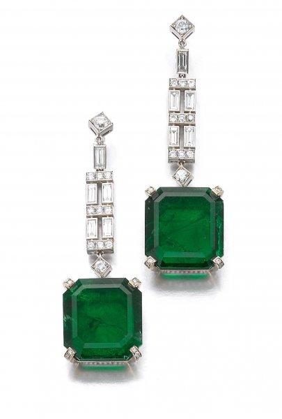 Сережки Graff з діамантами і смарагдами