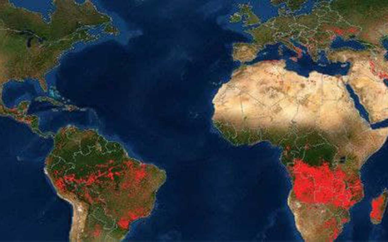 NASA shows a map of fires